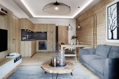 Obývací pokoj, kuchyň